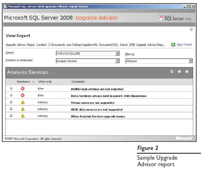 Figure 2: Sample Upgrade Advisor report