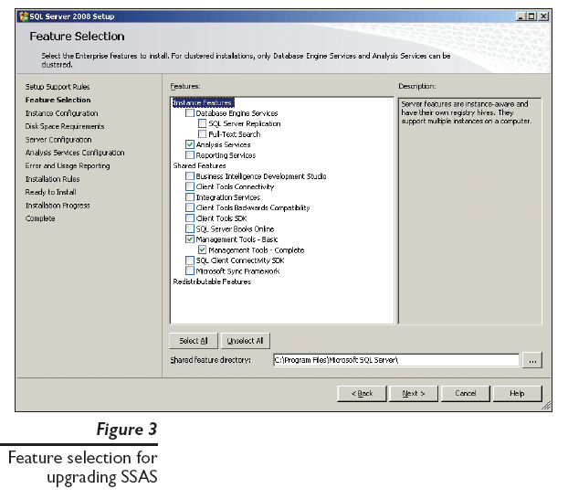 Figure 3: Feature selection for upgrading SSAS