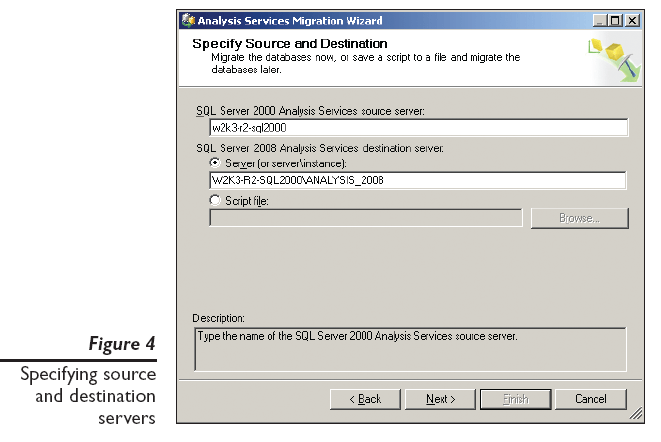 Figure 4: Specifying source and destination servers