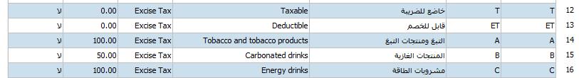 إعدادت-ترميزات الضريبة الانتقائية